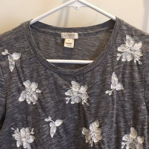 Grey cotton tee w/ white flowers from J.Crew